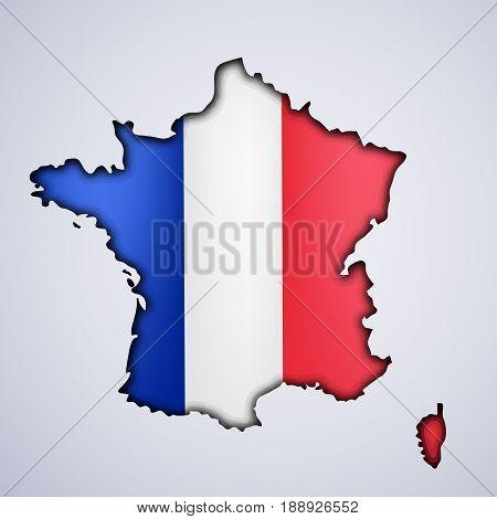 illustration of map of France in France flag background