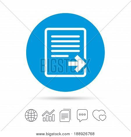 Export file icon. File document symbol. Copy files, chat speech bubble and chart web icons. Vector