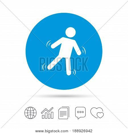 Man falls sign icon. Falling down human symbol. Caution slippery. Copy files, chat speech bubble and chart web icons. Vector