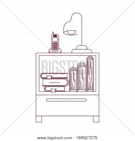 dark red line contour of nightstand with cordless phone and lamp and books vector illustration