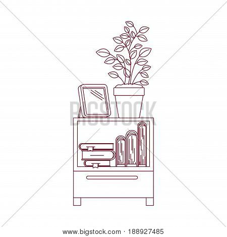 dark red line contour of decorative cabinet table with books and plantpot vector illustration