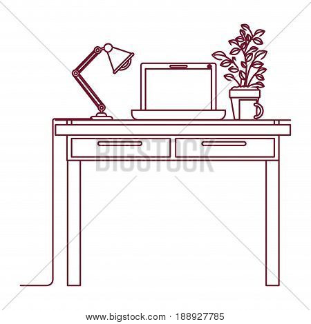 dark red line contour of work place office interior with laptop computer and lamp and plantpot vector illustration