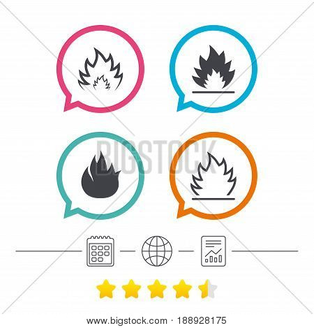 Fire flame icons. Heat symbols. Inflammable signs. Calendar, internet globe and report linear icons. Star vote ranking. Vector