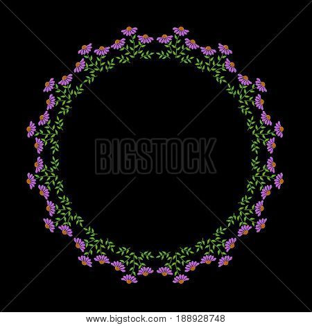 Embroidery stitches imitation fashion frame with folk flower and green leaf. Floral wreath on black background. Embroidery flower vector.