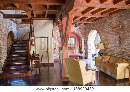 Antigua, Caribbean islands, English Harbour - May 20, 2017: Nelson's Dockyard Admiral's Inn interior. Building of 18th century