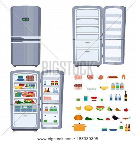 Vector cartoon illustration of opened Refrigerator full of food. Closed fridge as a home kitchen appliance. Food set with meat, cheese, diary, vegetables and fruits. Health food cocept. Hunger symbol.
