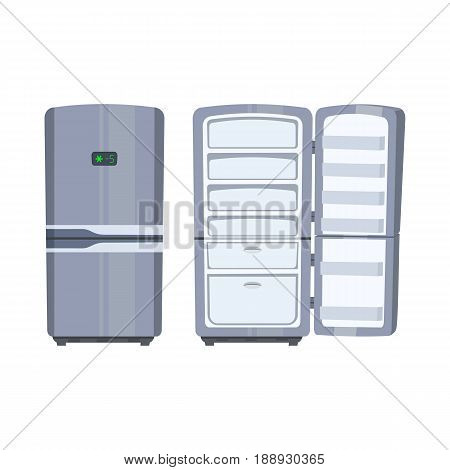 Closed and opened empty refrigerator on white background. Home kitchen appliance. Health lifestyle, hunger symbol