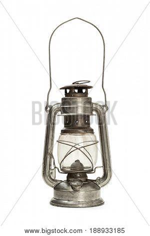 Lantern kerosene oil lamp on white background,