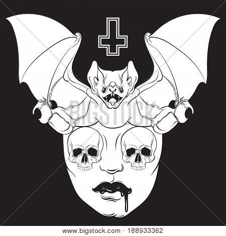 Vector illustration in hand drawn realistic style with skull and bat. Template for poster banner card print for t-shirt. Dark fashion artwork