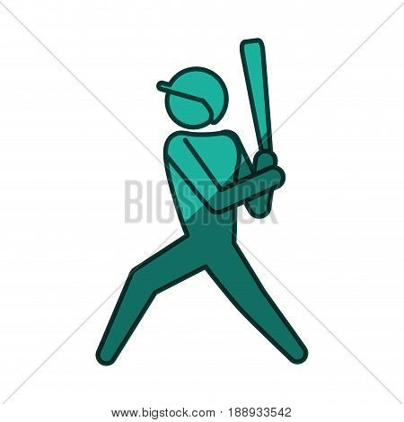 Baseball player pictogram icon vector illustration graphic design