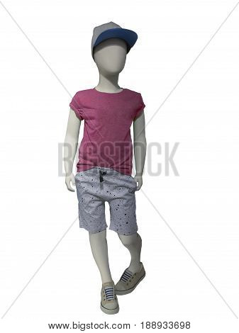 Child mannequin dressed in casual clothes isolated on white background. No brand names or copyright objects.