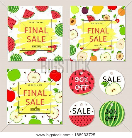 Final sale posters banners label - colorful vector set with fruits.