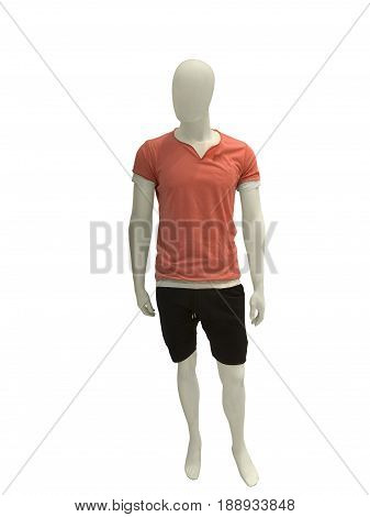 Full-length male mannequin dressed in shorts and red t-shirt isolated on white background.