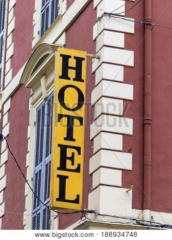 hotel, shield, facade