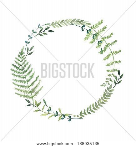 Hand Drawn Watercolor Illustration. Laurel Wreath With Leaves And Branches. Perfect For Wedding Invi
