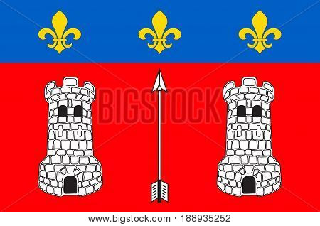 Flag of La Fleche is a town and commune in the French department of Sarthe in the Pays de la Loire region in the Loire Valley