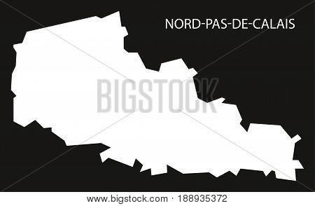 Nord-pas-de-calais France Map Black Inverted Silhouette Illustration