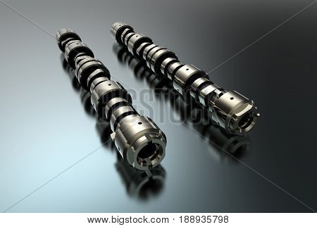 3d illustration of camshafts isolated on white and metallic