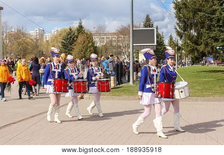 Kirishi, Russia - 9 May, A group of drummer girls in blue suits, 9 May, 2017. Preparation and conduct of the action Immortal regiment in small cities of Russia.