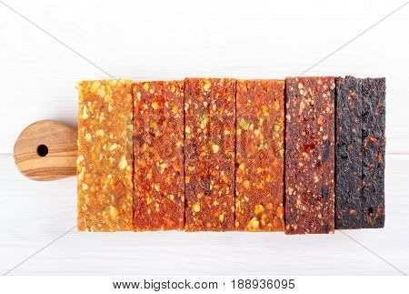 Fruit berry and nut energy bars. Healthy snack. Top view.
