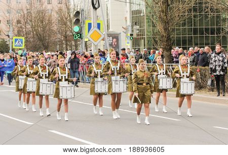 Kirishi, Russia - 9 May, Procession of a group of drummers, 9 May, 2017. Preparation and conduct of the action Immortal regiment in small cities of Russia.