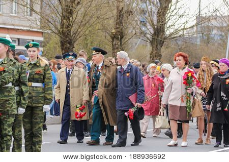 Kirishi, Russia - 9 May, Going veterans of the war, 9 May, 2017. Preparation and conduct of the action Immortal regiment in small cities of Russia.