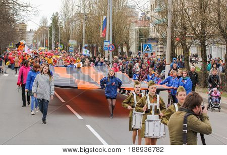 Kirishi, Russia - 9 May, A holiday in the city, 9 May, 2017. Preparation and conduct of the action Immortal regiment in small cities of Russia.