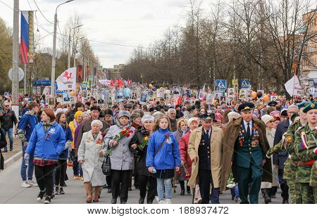 Kirishi, Russia - 9 May, A huge number of people in the action is an immortal regiment, 9 May, 2017. Preparation and conduct of the action Immortal regiment in small cities of Russia.