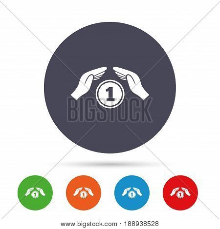 Protection money sign icon. Hands protect coin symbol. Money or savings insurance. Round colourful buttons with flat icons. Vector