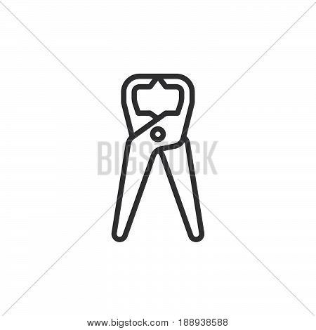 Tongs Pliers pincers line icon outline vector sign linear style pictogram isolated on white. Symbol logo illustration. Editable stroke. Pixel perfect