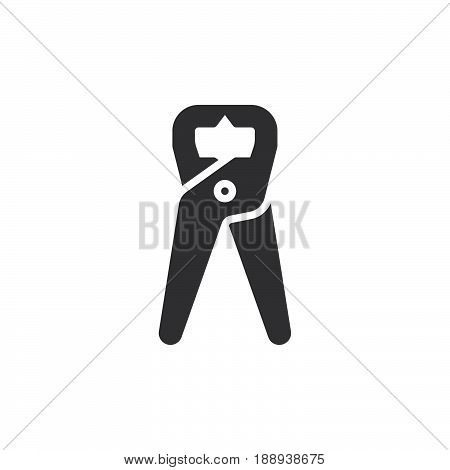 Tongs Pliers pincers icon vector filled flat sign solid pictogram isolated on white. Symbol logo illustration. Pixel perfect