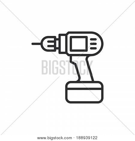 Electric hand drill line icon outline vector sign linear style pictogram isolated on white. Symbol logo illustration. Editable stroke. Pixel perfect