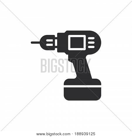 Electric hand drill icon vector filled flat sign solid pictogram isolated on white. Symbol logo illustration. Pixel perfect