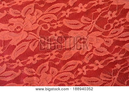 Coral Red Guipure Lace Fabric From Above