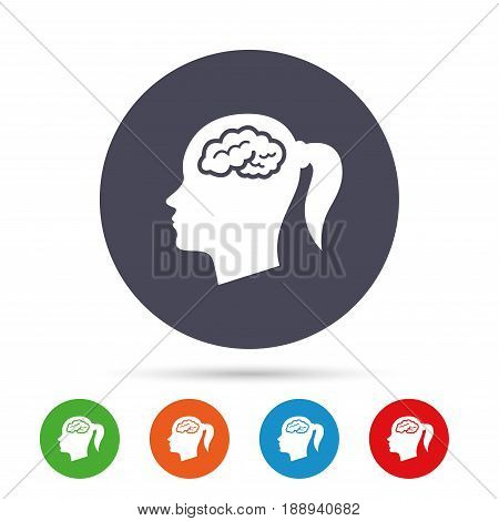 Head with brain sign icon. Female woman human head think symbol. Round colourful buttons with flat icons. Vector