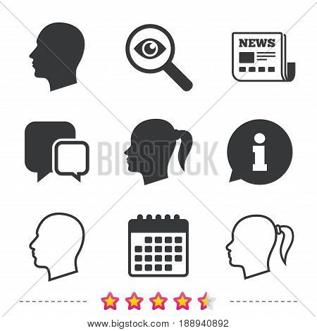 Head icons. Male and female human symbols. Woman with pigtail signs. Newspaper, information and calendar icons. Investigate magnifier, chat symbol. Vector