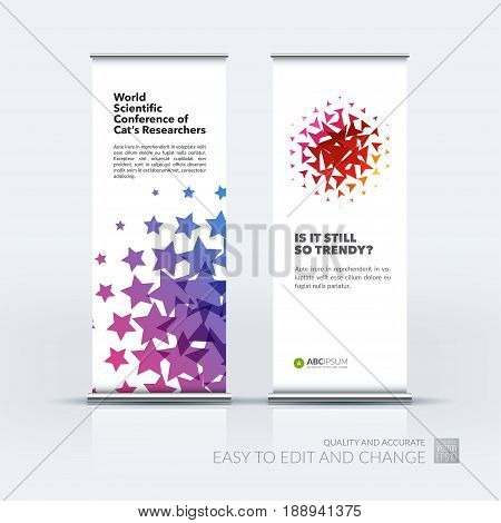 Abstract business vector set of modern roll Up Banner stand design template with colourful geometric shapes for tech, market, exhibition, show, expo, presentation, parade, events.
