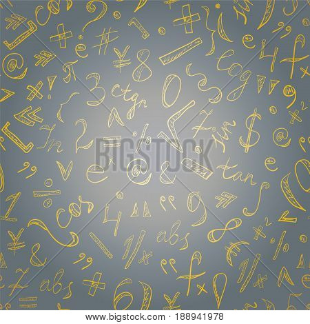 Seamless Pattern of Golden Hand Drawn Doodle Symbols and Numbers. Scribble Mathematics Signs. Vector Illustration.
