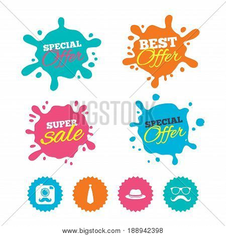 Best offer and sale splash banners. Hipster photo camera with mustache icon. Glasses and tie symbols. Classic hat headdress sign. Web shopping labels. Vector