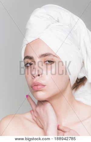 Woman With White Bath Towel On Head