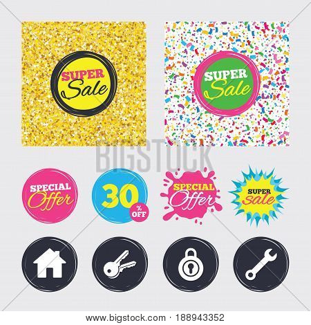 Gold glitter and confetti backgrounds. Covers, posters and flyers design. Home key icon. Wrench service tool symbol. Locker sign. Main page web navigation. Sale banners. Special offer splash. Vector