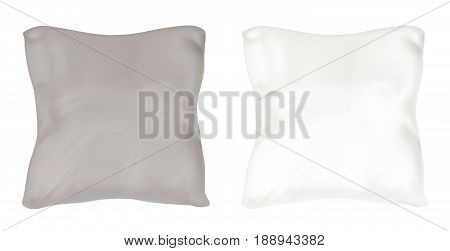White and black square pillow. Vector mock up