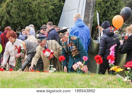 Kirishi, Russia - 9 May, Tribute to the memory of the graves, 9 May, 2017. Laying wreaths and flowers in memory of the fallen at the Eternal Flame.