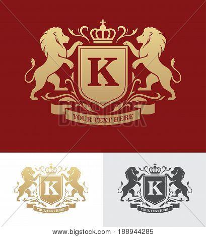 Golden crest design with rampant lions. Heraldic logo template. Luxury design concept.