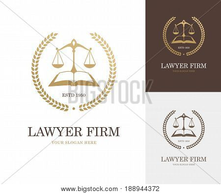 Law label with balance scale open book and wreath in golden color. Lawyer firm company or attorney office logo. Justice symbol or emblem design concept.