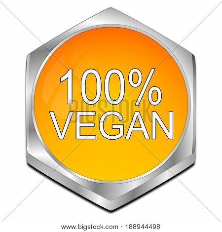 orange 100% Vegan Button - 3D illustration