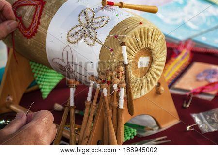 A Woman Makes Bobbin Lacing (palickovanie) - Folk Art
