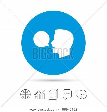 Talk or speak icon. Speech bubble symbol. Human talking sign. Copy files, chat speech bubble and chart web icons. Vector