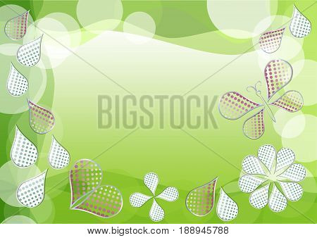 Spring green vector background with morphing dotted drops leafs heart and butterfly