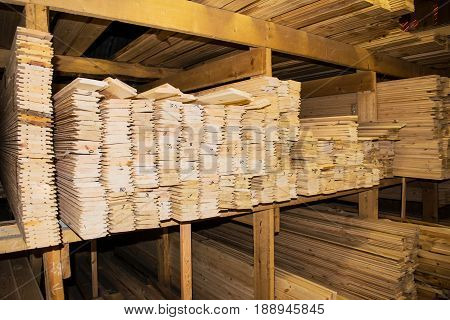 Timber, lumber, wood Board siding in the pile